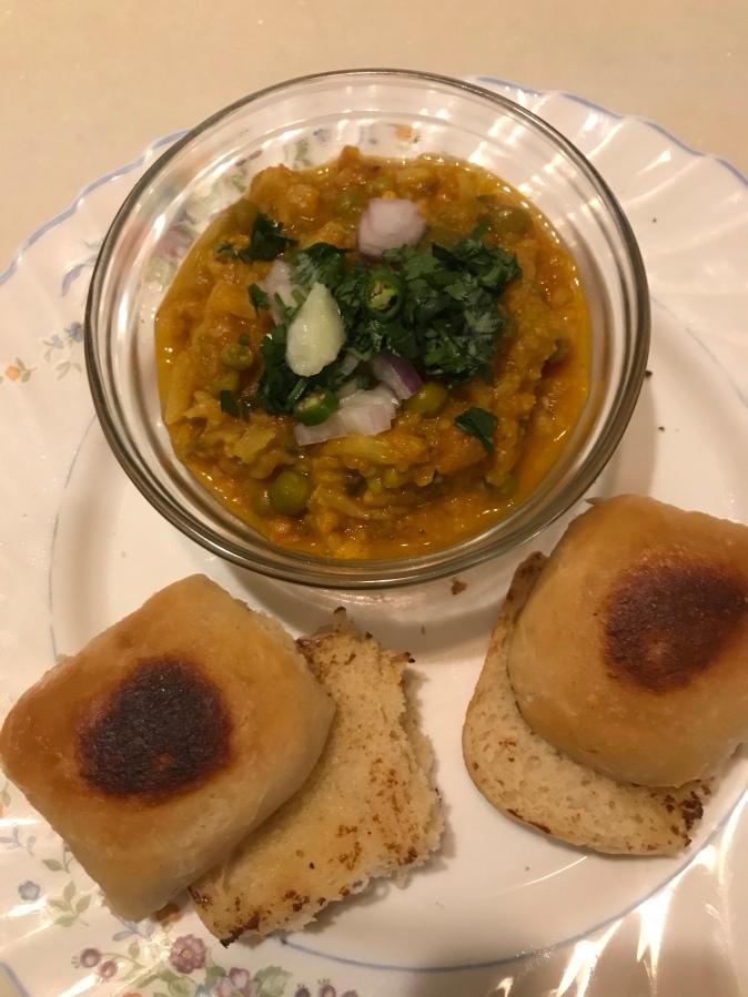 Pav Bhaji ( Dinner rolls with vegetablemedley)